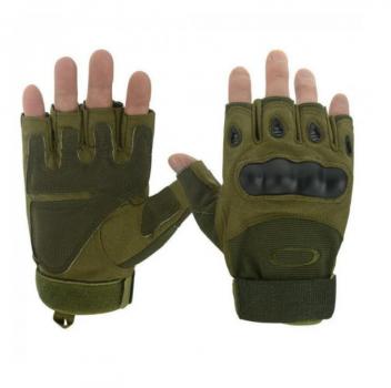 Беспалые тактические перчатки с усиленным Протектором Олива XL
