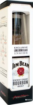 Виски Jim Beam White 4 года выдержки 0.7 л 40% + бокал (5060045585998_5060045588241)