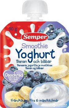 Фруктове пюре Semper Смузі з банана та чорниці з йогуртом з 6 місяців 90 г (7310100703002)