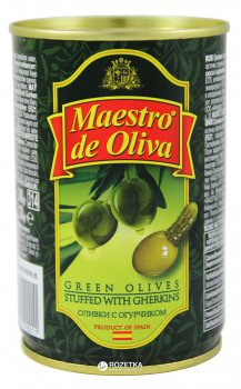 Оливки зеленые с огурчиком Maestro de Oliva 300 г (8436024290011)