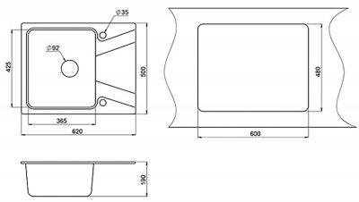 Кухонна мийка Minola MPG 1140-62 Арктик