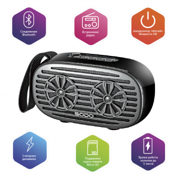 Бездротова Bluetooth колонка SODO Z19 Black JKR | Оригінал | Гарантія