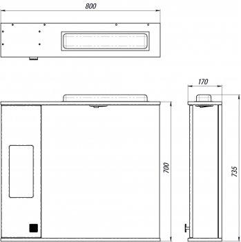 Зеркальный шкаф ВанЛанд Ирис Ирз 2-80 (правый)
