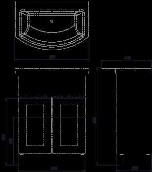 Тумба ВанЛанд Ірис Ірт 1-65 з умивальником Омега 65