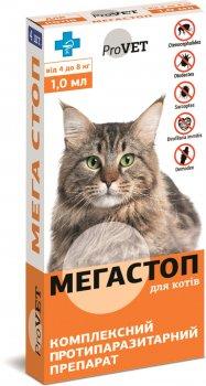 Краплі Природа Мега Стоп ProVet від зовнішніх і внутрішніх паразитів для котів 4-8 кг 4 х 1.0 мл (4820150200749/4823082409839)