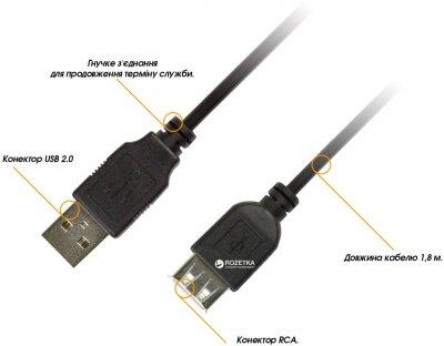 Кабель Piko USB 2.0 AM-AF 1.8 м (1283126474125)
