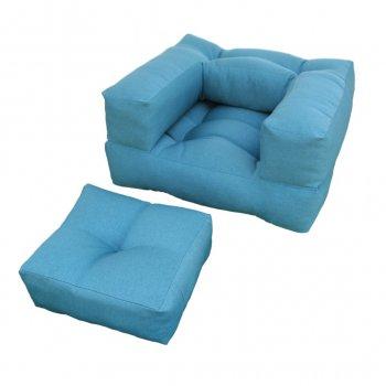 Крісло трансформер безкаркасне Lavibo Куб рогожка L Блакитний 180х100х25 см