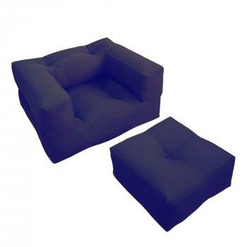 Крісло трансформер безкаркасне Lavibo Куб велюр М Темно-синій 180х100х20 см