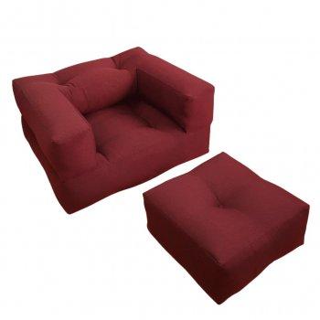 Крісло трансформер безкаркасне Lavibo Куб рогожка S Бордовий 180х100х15 см