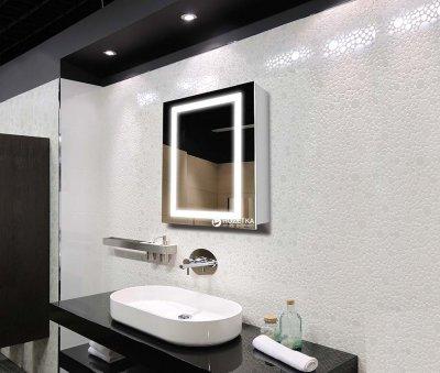 Зеркальный шкаф J-MIRROR Leonardo 1 дверца c LED-подсветкой (левый) 60x60