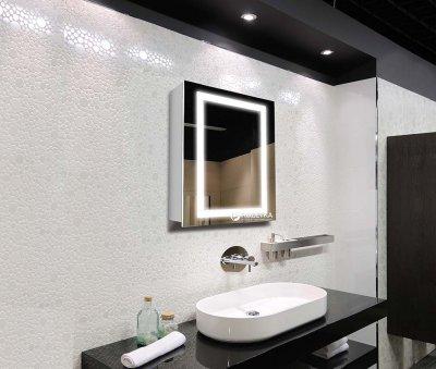 Зеркальный шкаф J-MIRROR Leonardo 1 дверца c LED-подсветкой (правый) 80x60