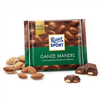 Молочный шоколад с цельным миндалем Ritter Sport Whole Almond 100г (00-00000272)