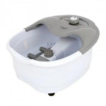 Ванночка массажер для ног Adler AD 2167 с защитой от брызг и функцией подогрева + 4 ролика для рефлекторного массажа + 3 насадки 80 Вт Белый