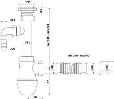 Сифон для раковины ANI PLAST C1315