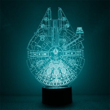 Настільний світильник-нічник Тисячолітній сокіл - Зоряні Воїни Millennium Falcon Star Wars 16 кольорів 3D USB (8222)