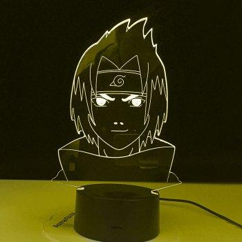 Настільний світильник-нічник Саске дитина - Наруто, Саске Uchiha Naruto16 квітів 3D USB (8218)