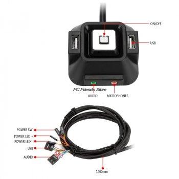 Кнопка включення живлення ПК, Reset, з двома портами USB 2.0 + аудіо та мікрофоном