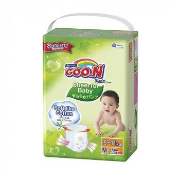 Японські підгузники одноразові трусики для дітей Goo.N Cheerful Baby 6-11 кг M 3 Унісекс 54 шт (853880)