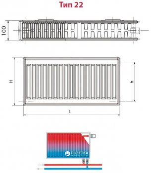 Радиатор HI-THERM 600x2000 мм Тип 22 нижний (VK226002000)