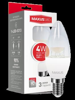Світлодіодна лампа Maxus 5313 С37 4W 3000K 220V E14 (54537)