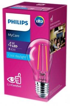 Світлодіодна лампа Philips Filament LED Classic 4-40W A60 E27 865 CL NDAPR (929001974808)