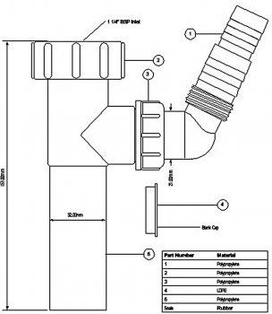 Патрубок пластиковый для сифона McALPINE 1 1/4х32х120 c подключением к стиральной машине (5036484053688)