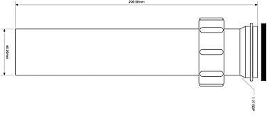 Патрубок пластиковый для сифона McALPINE 1 1/2х40х200 (5036484008909)