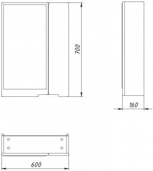Зеркальный шкаф ВанЛанд Просто Прз 1-60 (правый)