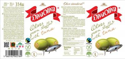Оливки Diva Oliva с тунцом 314 мл (5060162902784) (5060162904665) (8436024291964)