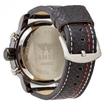 Мужские армейские часы с влагозащитой противоударные AMST 3022 Black-Blue Fluted Wristband original