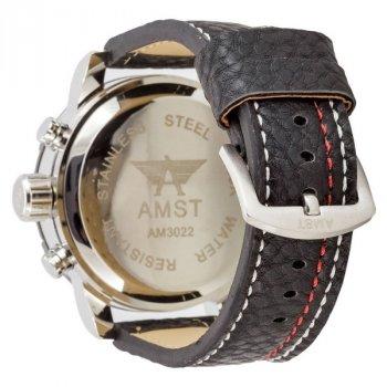 Мужские армейские часы водонепроницаемые противоударные AMST 3022 Silver-Black-Silver Fluted Wristband original