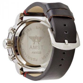 Мужские армейские часы водонепроницаемые противоударные AMST 3022 Silver-Black-Silver Smooth Wristband original