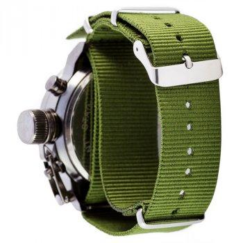 Мужские Армейские часы с влагозащитой AMST Black-Black Green Wristband original