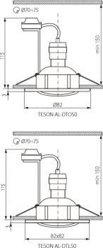 Світильник точковий Kanlux Teson AL-DTL50 (KA-7371)