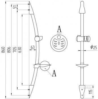 Душевая штанга QTAP 008 CRM