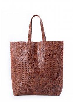 Кожаная сумка POOLPARTY City (leather-city-croco-brown)