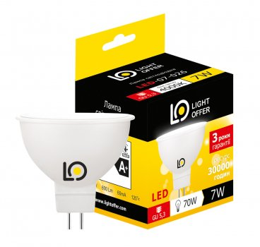 Світлодіодна лампа Light Offer LED MR16 7W GU5.3 4000K 600Lm (LЕD - 07 - 026)