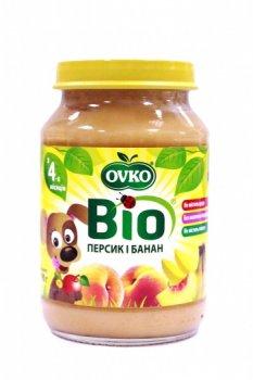Пюре OVKO Персик и банан, 190 г (085687)