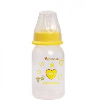 Бутылочка для кормления Курносики, с силиконовой соской, от 0 мес., 125 мл, желтый (7001 жовт) (308489)