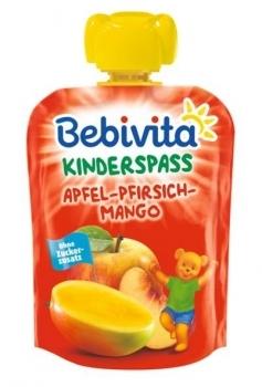 Фруктове пюре Bebivita Pouch Яблуко-персик-манго, 90 г (термін придатності до 13.05.2020) (274067)