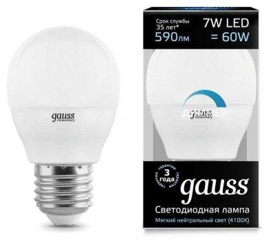 Лампа Гаусса LED Куля-dim E27 7W 590lm 4100К диммируемая