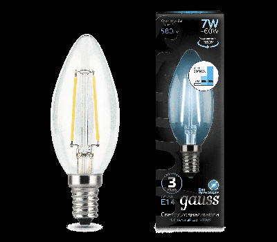 Лампа Гаусса LED Filament E14 Свічка 7W 580lm 4100К step dimmable