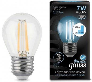 Лампа Гаусса LED Filament Куля E27 7W 580lm 4100K step dimmable