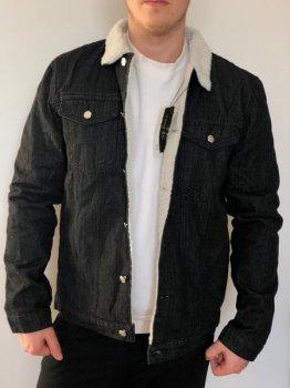 Джинсовая куртка Mod-Room  с белым мехом Черная RA-MK20121