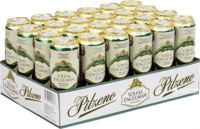 Упаковка пива Volfas Engelman Pilzeno светлое фильтрованное 4.7% 0.568 л x 24 банки (4770301229122)