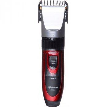 Машинка для стрижки волосся GM 550 Pro 4 насадки - бездротова, титано-керамічні ножі з двома акумуляторами Red (L0726-0726)