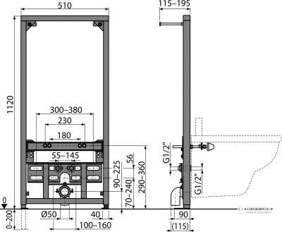 Інсталяція для біде ALCA PLAST A105/1120
