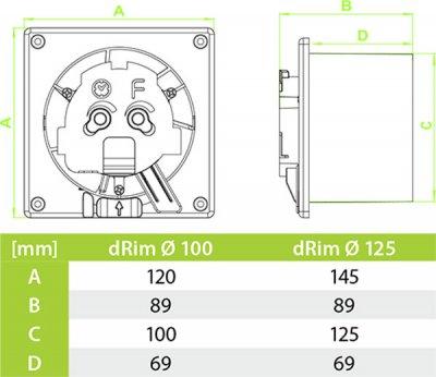 Витяжний вентилятор AirRoxy dRim 125 S BB