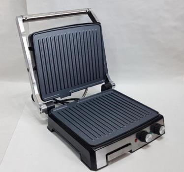 Гриль електричний Електрогриль 2000Вт контактний + индикатр + піддон + регулювання температури + таймер + антипригарне покриття для будинку DSP KB1036