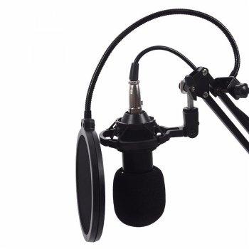 Студийный микрофон для записи вокала, записи видео и т.д. Music D.J. M-800 со стойкой и ветрозащитой Black